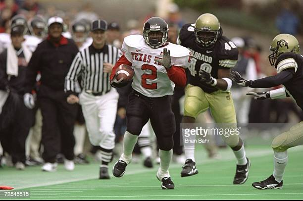 Tailback Ricky Williams of the Texas Tech Red Raiders in action during the game against the Colorado Buffaloes at Folsom Field in Boulder Colorado...
