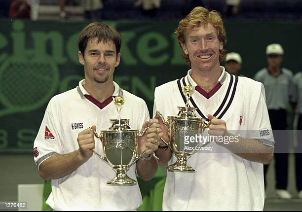 Todd Woodbridge and Mark Woodforde of Australia win the mens doubles event at the Heineken Open at the Singapore Indoor Stadium in Singapore. \...