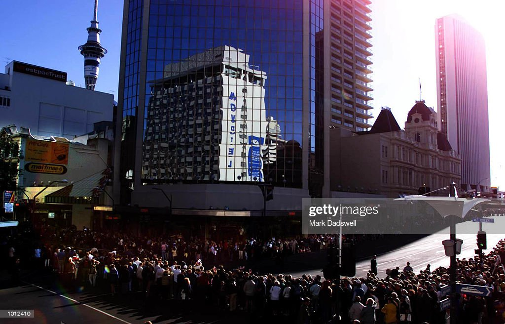 A general view of Queen St Auckland during the parade to welcome the challengers for the Louis Vuitton Cup, to be held in Auckland, New Zealand. Mandatory Credit: Mark Dadswell/ALLSPORT