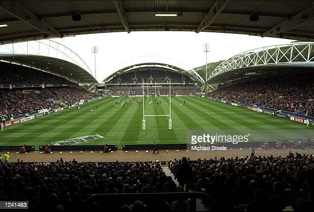 A general view of the action during the Rugby World Cup Pool B match between New Zealand and Italy played at the McAlpine Stadium Huddersfield...