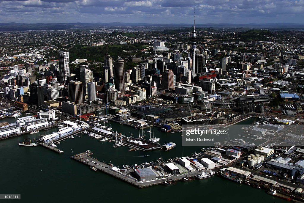 A general view of the city of Auckland looking over the Royal New Zealand Yacht Squadron at Weshaven Marina during the parade to welcome the challengers for the Louis Vuitton Cup, to be held in Auckland, New Zealand. Mandatory Credit: MarkDadswell/ALLSPORT