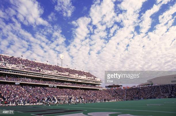 General view of the cloudly sky and the packed stadium taken during the game between the Kansas State Wildcats and the Baylor Bears at Wagner Field...