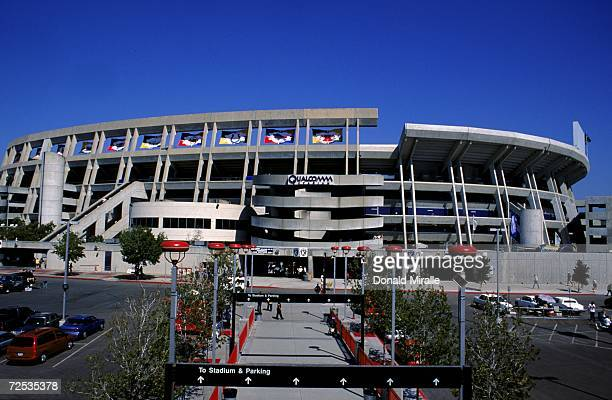 A general view of the outside of Qualcomm Stadium taken before the game between the Kansas City Chiefs and the San Diego Chargers at Qualcomm Stadium...