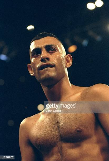 A portrait of boxer Prince Naseem Hamed before his fight against Cesar Soto WBC and WBO Featherweight bout at Joe Louis Arena in Detroit Michigan USA...