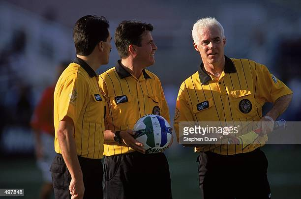 A view of Referees talking before the Western Conference Final game between the Los Angeles Galaxy and the Dallas Burn at the Rose Bowl in Pasadena...