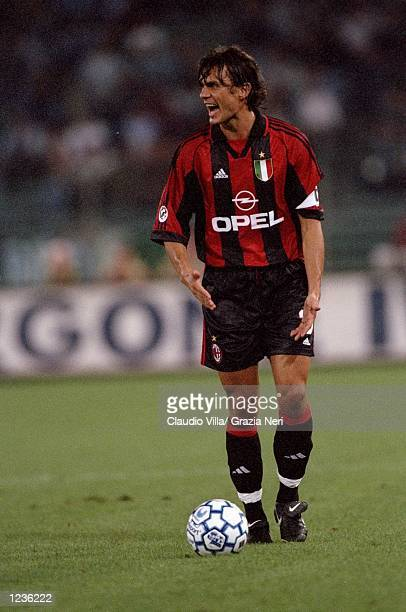 AC Milan captain Paolo Maldini on the ball against Lazio during the Serie A match at the Stadio Olimpico in Rome Italy Mandatory Credit Claudio Villa...