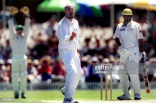 Adam Lillee son of former Australian fast bowler Dennis Lillee is elated after dismissing Pakistan batsman Yousaf Youhana during the Pakistan versus...