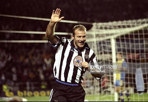 Alan Shearer of Newcastle celebrates scoring during the FA Carling Premiership match against Derby played at St James Park in Newcastle England...