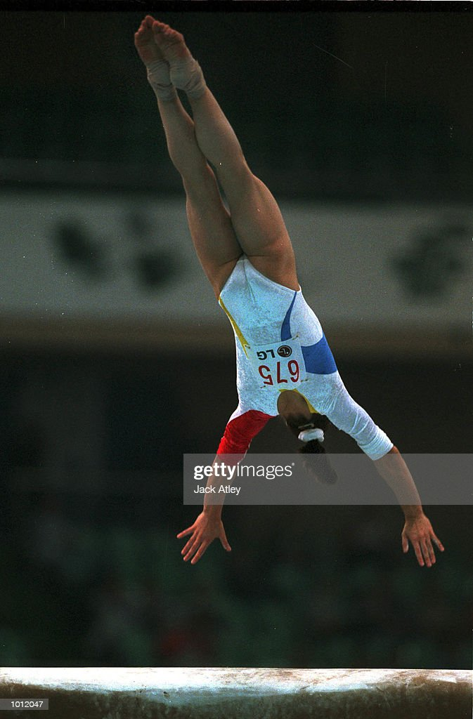 Andreea Raducan of Romania leaps over the vault during the womens qualifying round at the 1999 Tianjin World Gymnastics Championships, Tianjin, China. Raducan finsished with the second highest overall womens score after four subdivision rounds to be in second position the competition. Mandatory Credit: Jack Atley/ALLSPORT