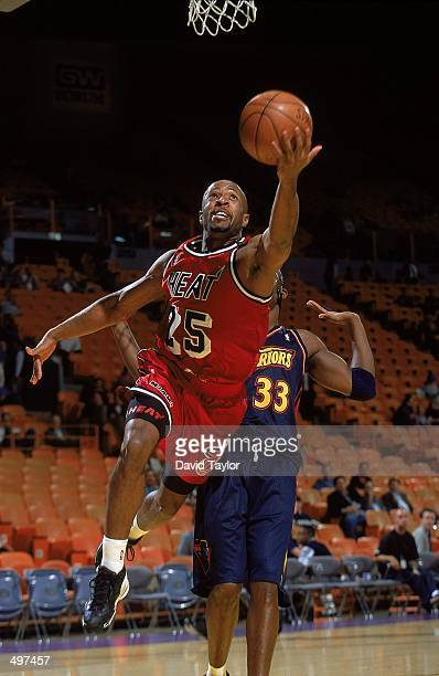 Anthony Carter of the Miami Heat makes a layup during a PreSeason game against the Golden State Warriors at the Great Western Forum in Inglewood...