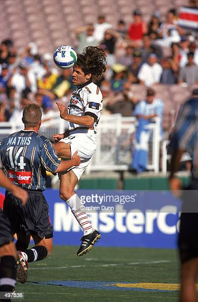 Ariel Graziani of the Dallas Burn heads the ball during the Western Conference Final game against the Los Angeles Galaxy at the Rose Bowl in Pasadena...