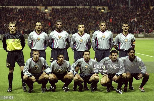 Barcelona line up prior to the Champions League Group B match against Arsenal played at Wembley Stadium London The game finished in a 42 win for...