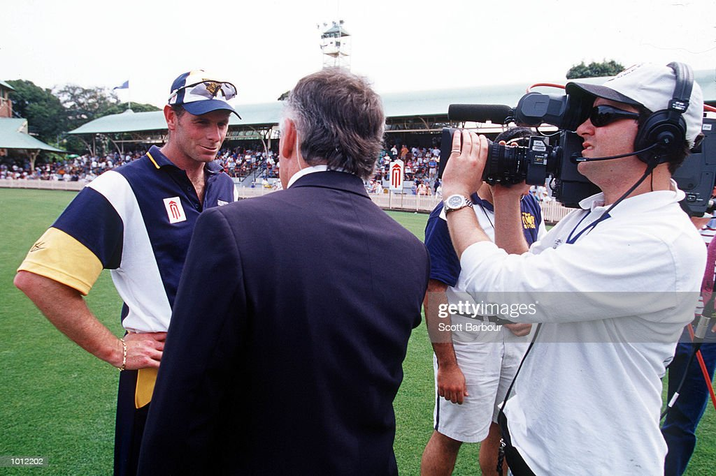 Captain Paul Reiffel of the Victorian Bushrangers is interviewed before the game against the NSW Blues during the Mercantile Mutual Cup fixture at the North Sydney Oval, Sydney, Australia. Mandatory Credit: Scott Barbour/ALLSPORT