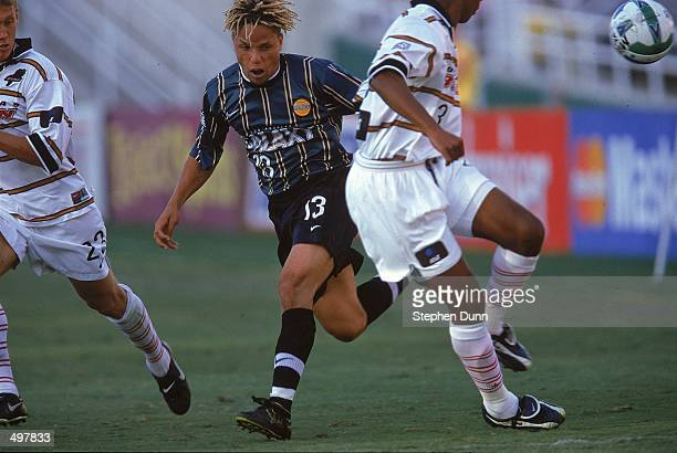 Cobi Jones of the Los Angeles Galaxy runs for the ball during the Western Conference Final game against the Dallas Burn at the Rose Bowl in Pasadena...