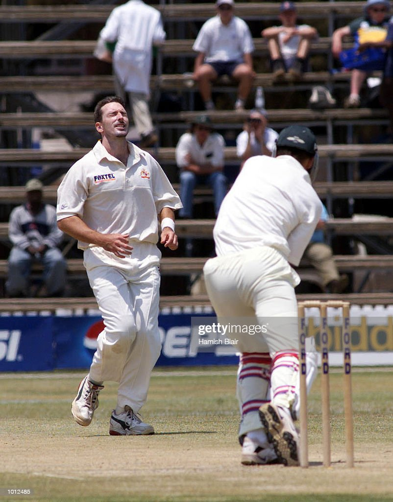 Damien Fleming of Australia shows his frustration after a near miss against Trevor Gripper of Zimbabwe, during day four of the one off test match between Zimbabwe and Australia at Harare Sports Club, Harare, Zimbabwe.X Mandatory Credit: Hamish Blair/ALLSPORT