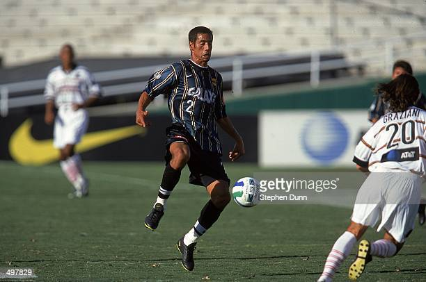 Danny Pena of the Los Angeles Galaxy controls the ball during the Western Conference Final game against the Dallas Burn at the Rose Bowl in Pasadena...