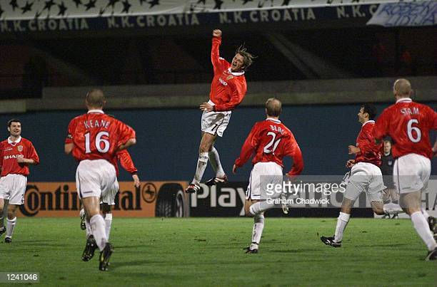 David Beckham of Manchester United celebrates putting his team 10 up against N K Croatia Zagreb during the Champions League game at the Maksimir...