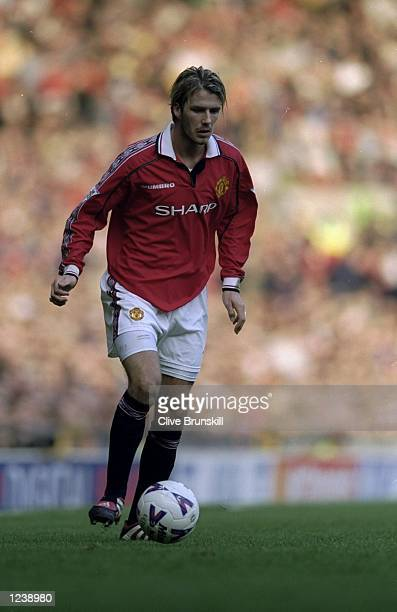 David Beckham of Manchester United on the ball against Watford during the FA Carling Premiership match at Old Trafford in Manchester England United...