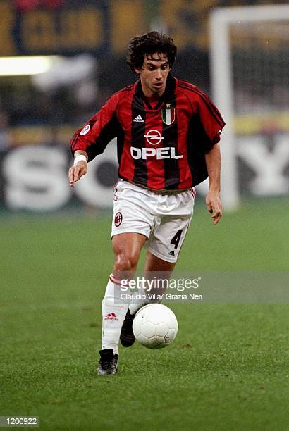 Demetrio Albertini of AC Milan on the ball during the Serie A match against Inter Milan at the San Siro in Milan Italy Mandatory Credit Claudio Villa...