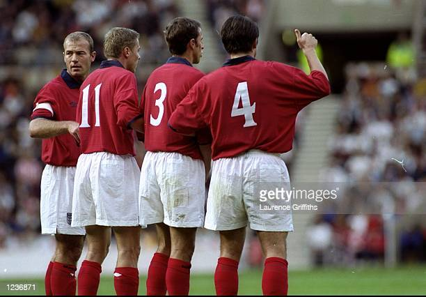 England form a wall during the International Friendly against Belgium at the Stadium of Light in Sunderland England England won 21 Mandatory Credit...