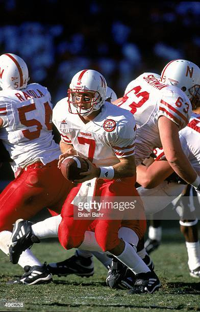 Eric Crouch of the Nebraska Cornhuskers looks to hand off the ball during a game against the Texas Longhorns at the Texas Memorial Stadium in Austin...