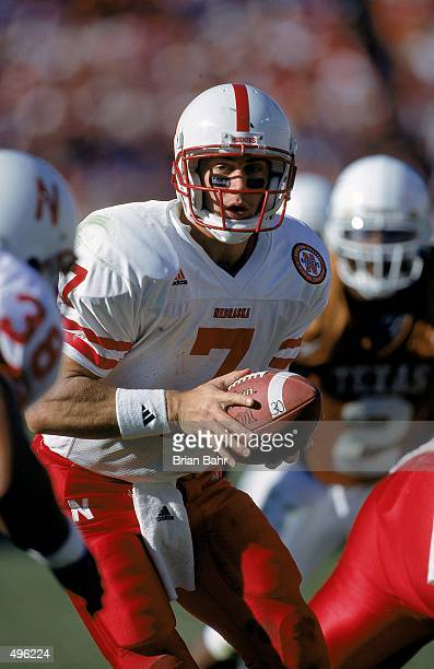 Eric Crouch of the Nebraska Cornhuskers moves with the ball during a game against the Texas Longhorns at the Texas Memorial Stadium in Austin Texas...
