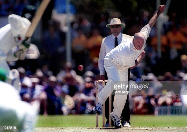 Former Australian fast bowler Dennis Lillee bowls during the Pakistan versus Australian Chairman's Eleven Festival cricket match played at the Lilac...