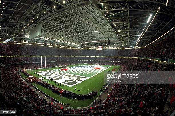 General view of the Millennium Stadium during the Opening Ceremony of the Rugby World Cup in Cardiff Wales Mandatory Credit Mike Hewitt /Allsport