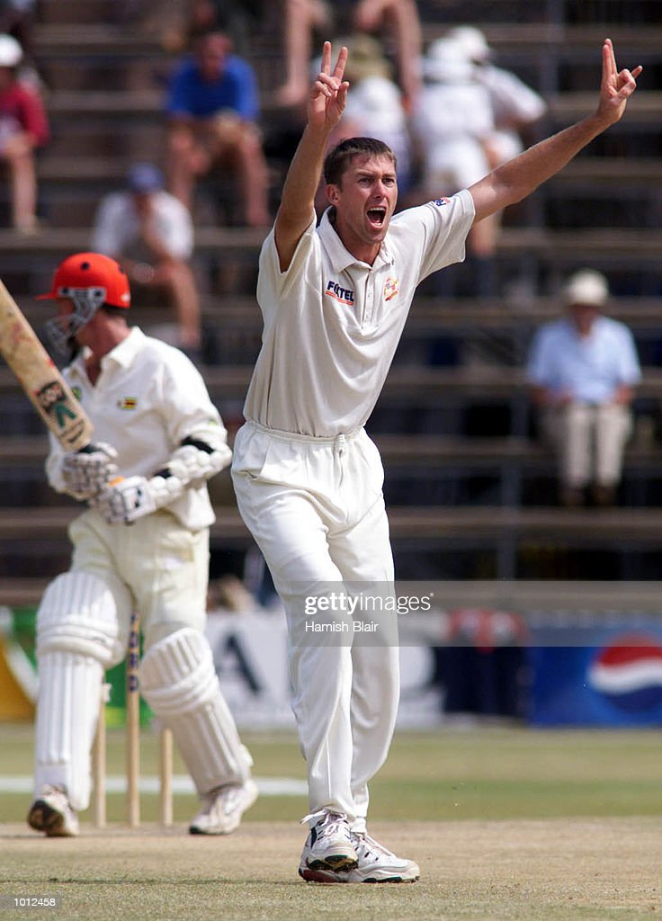 Glenn McGrath of Australia unsuccessfully appeals for LBW against Grant Flower of Zimbabwe, during day three of the one off test match between Zimbabwe and Australia at Harare Sports Club, Harare, Zimbabwe.X Mandatory Credit: Hamish Blair/ALLSPORT