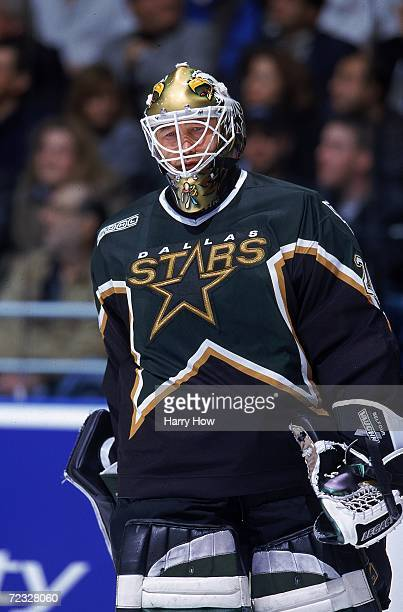 Goal keeper Ed Belfour of the Dallas Stars looks on during the game against the Toronto Maple Leafs at the Air Canada Centre in Toronto Canada The...