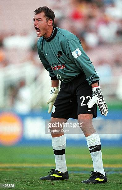 Goalkeeper Matt Jordan of the Dallas Burn yells on the field during the Western Conference Final game against the Los Angeles Galaxy at the Rose Bowl...