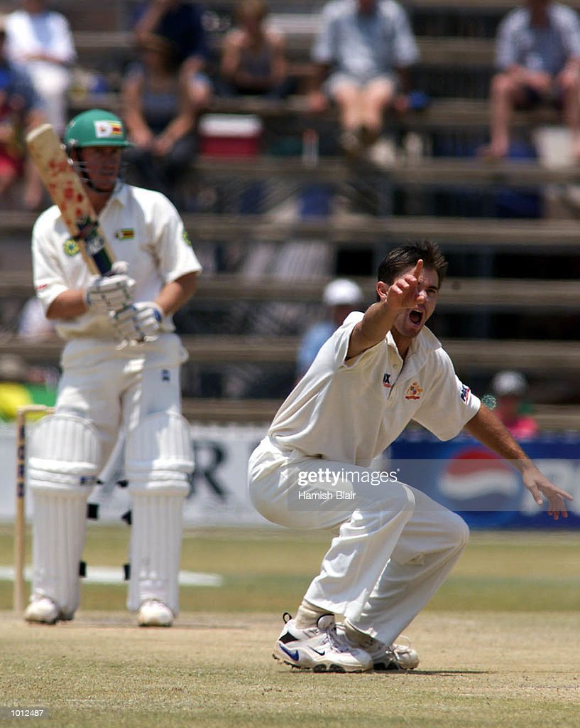 Greg Blewett of Australia appeals unsuccessfully for LBW against Murray Goodwin of Zimbabwe, during day four of the one off test match between Zimbabwe and Australia at Harare Sports Club, Harare, Zimbabwe.X Mandatory Credit: Hamish Blair/ALLSPORT