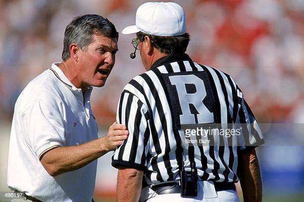 Head coach Mack Brown of the Texas Longhorns yells at the referee during the game against the Nebraska Cornhuskers at the Texas Memorial Stadium in...