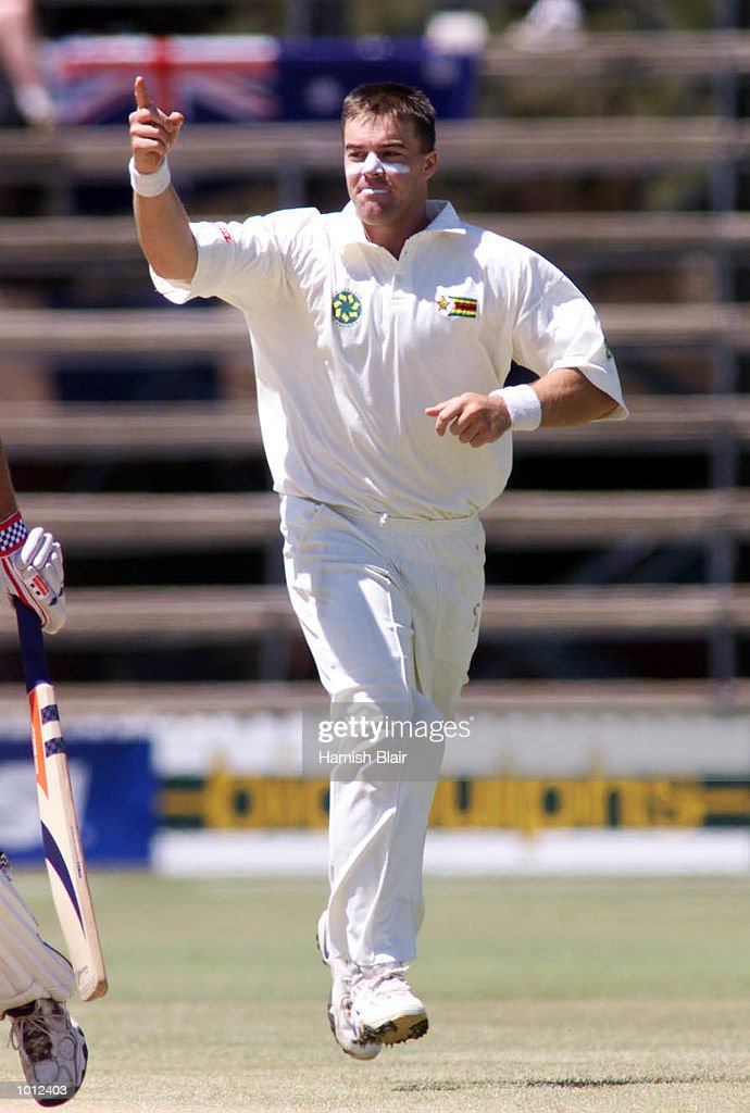 Heath Streak of Zimbabwe celebrates after claiming the wicket of Greg Blewett of Australia, during day two of the one off test match between Zimbabwe and Australia at Harare Sports Club, Harare, Zimbabwe.X Mandatory Credit: Hamish Blair/ALLSPORT