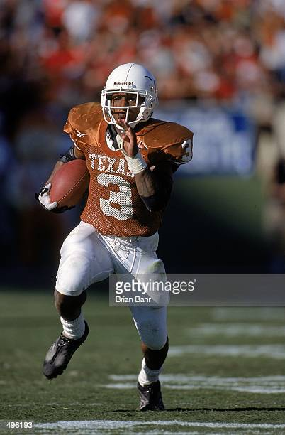 Hodges Mitchell of the Texas Longhorns carries the ball during the game against the Nebraska Cornhuskers at the Texas Memorial Stadium in Austin...