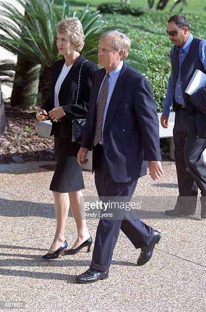 Jack and Barbara Nicklaus arrive at the Payne Stewart's Memorial at the First Baptist Church of Orlando in Orlando Florida
