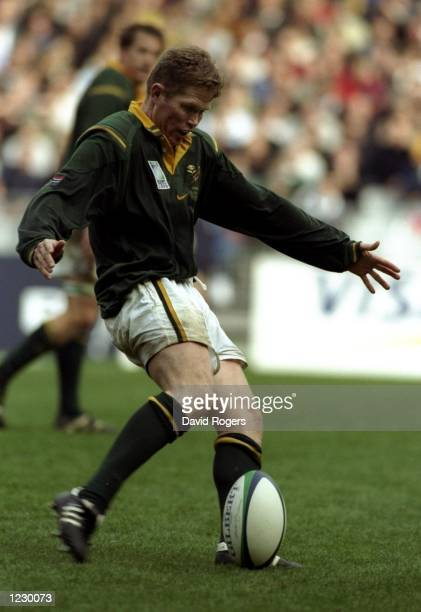 Jannie De Beer of South Africa kicks a World Record five drop goals in the Rugby World Cup quarterfinal match against England at the Stade de France...
