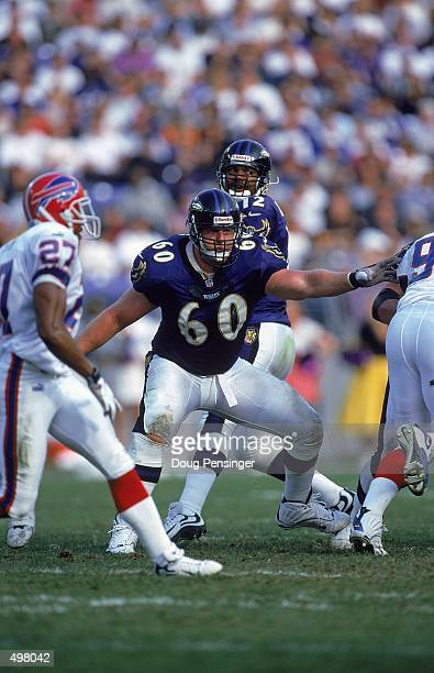 Jeff Mitchell of the Baltimore Ravens moves to block the line during the game against the Buffalo Bills at the PSINet Stadium in Baltimore, Maryland....