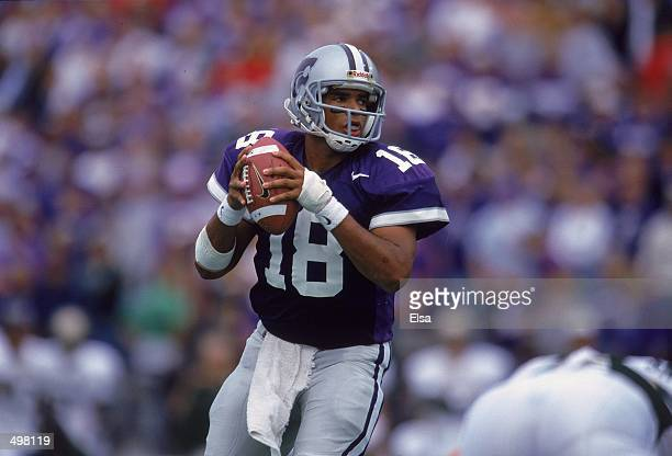Jonathan Beasley of the Kansas State Wildcats passes the ball during the game against the Baylor Bears at Wagner Field in Manhattan Kansas The...