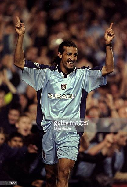 Joy for Coventry City scorer Mustapha Hadji during the FA Carling Premiership match against Watford at Highfield Road in Coventry England Coventry...