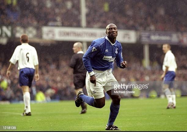 Joy for Everton scorer Kevin Campbell during the FA Carling Premiership match against Leeds United at Goodison Park in Liverpool England The game...