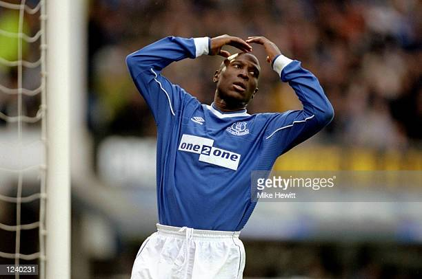Kevin Campbell of Everton misses another chance during the Everton v Coventry City FA Carling Premier League match played at Goodison Park Liverpool...