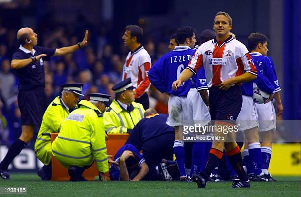 Kevin Davies of Southampton is sent off for his tackle on Gerry Taggart of Leicester during the FA Carling Premiership fixture at Filbert Street...