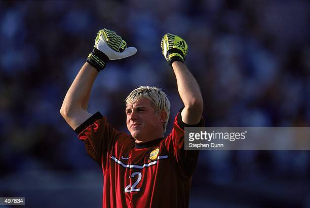 Kevin Hartman of the Los Angeles Galaxy throws his arms up during the Western Conference Final game against the Dallas Burn at the Rose Bowl in...
