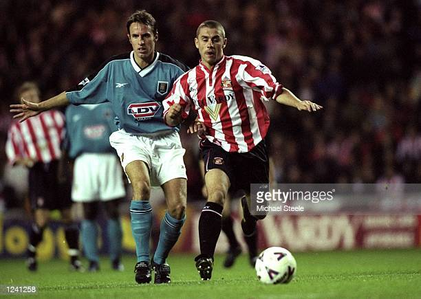 Kevin Phillips of Sunderland beats Gareth Southgate of Aston Villa during the FA Carling Premiership match at the Stadium of Light in Sunderland...