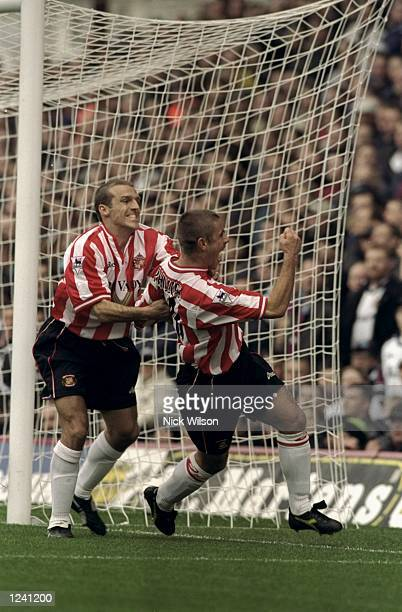 Kevin Phillips of Sunderland celebrates his goal with team mate Alex Rae in the FA Carling Premiership match against West Ham United at Upton Park in...