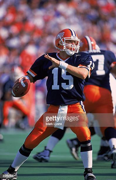 Kurt Kittner of the Illinois Fighting Illini passes the ball during the game against the Penn State Nittany Lions at the Memorial Stadium in...