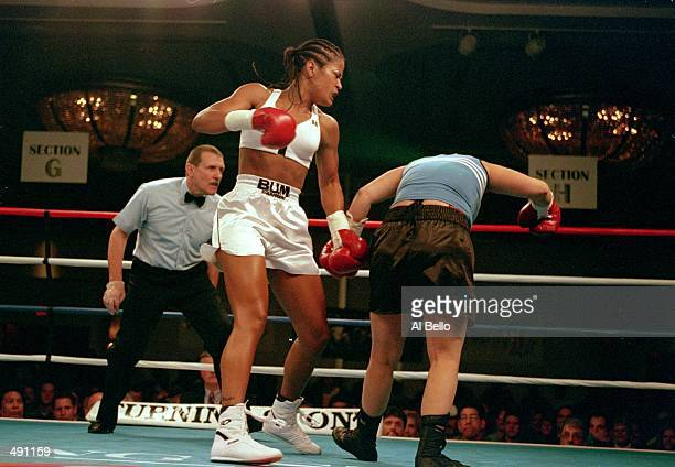 Laila Ali ands a left punch during the fight against April Fowler at the Turning Stone Casino in Verona New York Ali defeated Fowler by a KO in the...