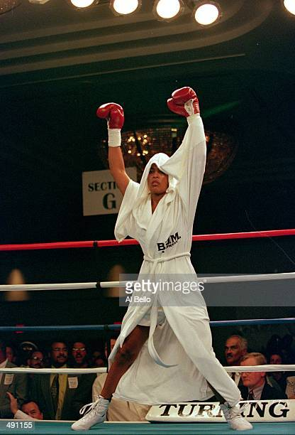 Laila Ali enters the ring as she dances around before the fight against April Fowler at the Turning Stone Casino in Verona New York Ali defeated...