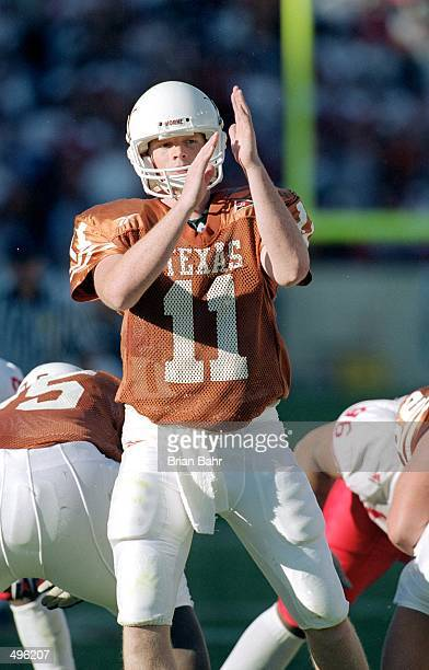 Major Applewhite of the Texas Longhorns calls a time out during the game against the Nebraska Cornhuskers at the Texas Memorial Stadium in Austin...